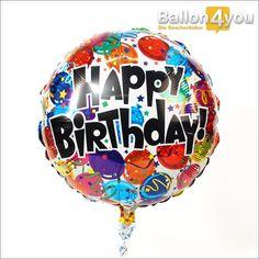 Rundballon Happy Birthday bunt       Mit diesem Happy Birthday Ballon schenken Sie einen echten Geburtstagsklassiker. Kunterbunt, mit tollen Hologramm-Effekten, Luftschlangen und Kerzen verziert, schwebt er aus dem Karton und wünscht dem Geburtstagskind alles Gute und ein dickes Happy Birthday!