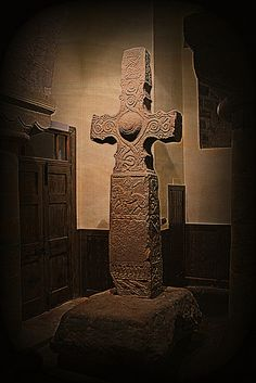 The Dupplin Cross (c. 800), one of Scotland's most important Pictish monuments. It originally stood on a hillside overlooking Forteviot (once an important Pictish centre) in Perthshire. The cross can now be seen in nearby St Serf's Church, Dunning. Photograph by Colin Gould. 53