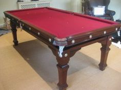 7ft mahogany riley antique snooker diner with red baize )