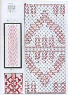 Punto yugoslavo. Swedish Embroidery, Hand Work Embroidery, Diy Embroidery, Embroidery Stitches, Embroidery Patterns, Weaving Designs, Weaving Projects, Free Swedish Weaving Patterns, Monks Cloth