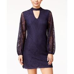 Crystal Doll Juniors' Lace Mock-Neck Shift Dress ($59) ❤ liked on Polyvore featuring dresses, navy, navy lace dress, navy dress, navy shift dress, purple dress and baby doll lace dress