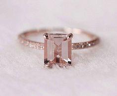 Princess cut Square diamond  Pink stone  Rose gold  Beautiful