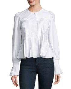 Collarless+Pleated+Cotton+Blouse,+White+by+Co+at+Bergdorf+Goodman.