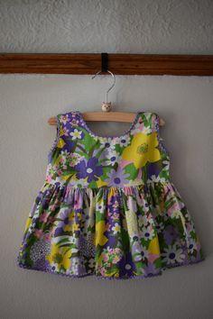 60's Vintage Floral Print Dress, Size 6-12 Months -- Fun Frills by Doris Brosk -- Vintage Dress for Baby -- Vintage Baby Clothes