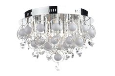 CLO1850 Cloud 18 Light Flush in Chrome Opal white glass orbs encircled by clear glass rings with crystal glass droppers Earthed 18 x 20w G4 Lamps included Height 35cm Diameter 60cm
