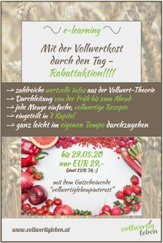 vollwertigleben Landing page Modul E Learning, Table Decorations, Food, Whole Food Diet, Getting To Know, Theory, Healthy, Simple, Tips