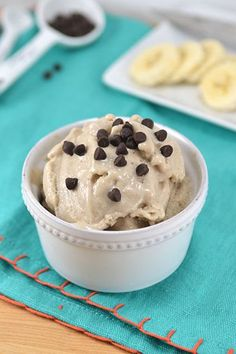 """Chocolate Peanut Butter Banana Ice Cream - A healthy, homemade """"ice cream"""". Just one frozen banana and a tbsp of peanut butter.  Add a tbsp of dark chocolate chips instead of milk chocolate to keep it healthier and for that extra something something."""