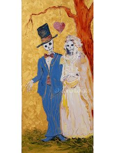 Gothic Wedding Day of the Dead skeleton Bride and by CarlaLovato, $195.00