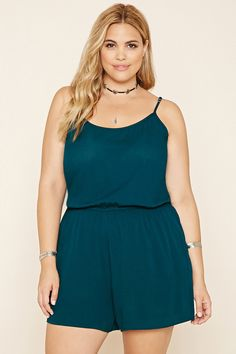 Forever 21+ - A crinkled woven romper complete with adjustable cami straps and an elasticized waist.