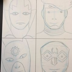 Pencils for a New Gods illustration based on Blur's Best Of cover by Julian Opie. #newgods #blur #kirby #illustration #orion #mrmiracle #lightray #bug