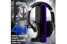 4-in-1 Wireless Headphones with Microphone and FM Tuner    Retail Price: $38.99 Shipping: $2  $14.97