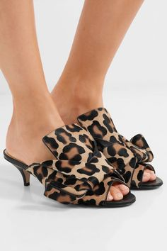 No. 21 | knotted leopard-print calf-hair peep-toe kitten-heeled slip-on mules with black heels