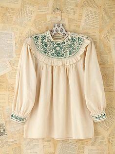 Vintage bordado Blusa de algodón