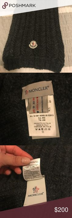 Moncler men's wool scarf New charcoal gray wool Moncler scarf Moncler Accessories Scarves & Wraps