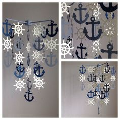 Nautical mobile in navy Beige and Gray by MadeByKatee on Etsy