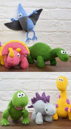 6 Dinosaurs to Knit - Dinosaur Collection Kit contains enough yarn to make all six Dinosaurs, along with a digital copy of each pattern including Bruno the Brontosaurus, Tina the Tyrannosaurus Rex, S