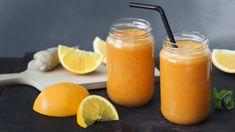 Valmista mehulingolla raikas mehu appelsiineista, porkkanoista ja tuoreesta inkivääristä. Hot Sauce Bottles, Smoothies, Orange, Fruit, Drinks, Cooking, Food, Smoothie, Drinking