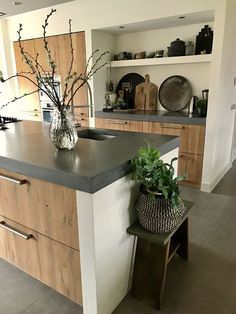 6 creative and inexpensive tips: Butcher Block Counter Tops Gray Epoxy Counter . - 6 creative and inexpensive tips: Butcher Block Counter Tops Gray Epoxy Counter …, - Country Kitchen Counters, Wooden Kitchen, Kitchen Paint, New Kitchen, Kitchen Decor, Kitchen Ideas, Kitchen Walls, Island Kitchen, Awesome Kitchen
