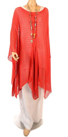 Sinne Fabulous Red Oversize Lagenlook Linen/Bamboo Knit - Summer 2013 Love it in Black Tooooooo