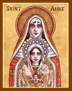 The Meaning of the Immaculate Conception begins with Saint Anne aka Hannah giving birth to the Blessed Virgin Mary who was born without sin St Anne, Religious Images, Religious Icons, Religious Art, Catholic Art, Roman Catholic, Female Catholic Saints, Saint Joachim, Immaculée Conception