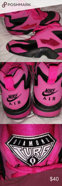 NIKE AIR Diamond Turf woman's size 7 shoes Pink & black, in excellent condition. Very stylish high tops. Diamond Turf Emblem on the tongue. Woman's size 7. NIKE AIR  Shoes Sneakers