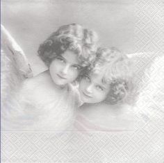 Lot de 2 Serviettes en papier Deux Anges Decoupage Collage Sagen Vintage