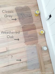 Staining - Minwax Classic Gray, Weathered Oak...snowy saturday and flooring progress: