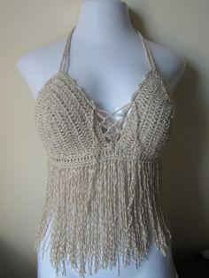 Fringe top halter top crochet :)