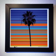 "Gallery: Pop series ""Lone Palm"" (2015) 12 x 12 inch, digital art - Giclee print on enhanced matte with glass framed. Stain black, 14 x 14 inch. Signed by Jon Savage  ---------------------------------- #art #artist #popart #popartist #digitalart #contemporary #contemporaryart #cmyk #palmtree #arecaceae #sunset #sunrise #sandiego #california #jonsavagegallery"