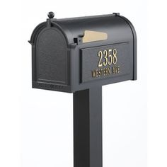 Whitehall�10-1/8-in x 53-in Metal Black In-Ground Mailbox with Post
