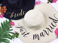 Floppy Sun Hat - Sequin Sun Hat - Bride Hat - Beach hat - Custom floppy hat - Bride to be hat - Beach Bride - Just Married Hat - Honeymoon