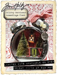 Tim's Christmas Assemblage Clock Kit won't last long in his Etsy shop. If you want one better be waiting when it goes live and quick! Christmas Clock, Christmas Shadow Boxes, Christmas Projects, All Things Christmas, Holiday Crafts, Vintage Christmas, Christmas Holidays, Christmas Decorations, Clock Craft