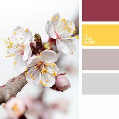 белый, бордовый, грязный белый, грязный розовый, канареечно желтый цвет, малиновый, насыщенный желтый цвет, оттенки серого, пыльный малиновый, серо-розовый, яркий желтый.