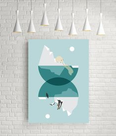 North pole south pole blue prints polar bear art by FLATOWL Geometric Poster, Geometric Wall Art, Art And Illustration, Art D'ours, North And South, Devine Design, Triangle Art, Penguin Art, Bear Print