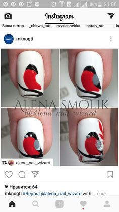 Tuto nail art oiseau rouge gorge Nail art is a creative way to paint, de Winter Nail Designs, Winter Nail Art, Autumn Nails, Winter Nails, Nail Art Designs, Bird Nail Art, Animal Nail Art, Cool Nail Art, Xmas Nails