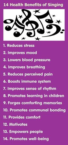 """Infographic: 14 Health Benefits of Singing: This is why """" old McDonald """" is my stress song! Singing Lessons, Singing Tips, Violin Lessons, Music Lessons, Kids Singing, Art Lessons, Tips & Tricks, Music Therapy, Music Classroom"""