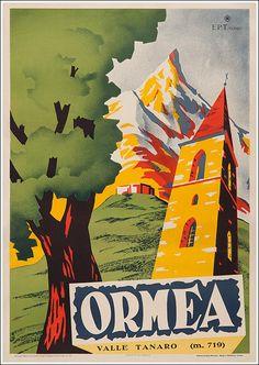 #Ormea Valle #Tanaro, #Cuneo #original #vintage #poster  manifesti originali d'epoca www.posterimage.it