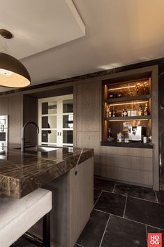 Grey Kitchen Designs, Luxury Kitchen Design, Luxury Kitchens, Interior Design Kitchen, Tv In Kitchen, Hidden Kitchen, Kitchen Living, Küchen Design, House Design