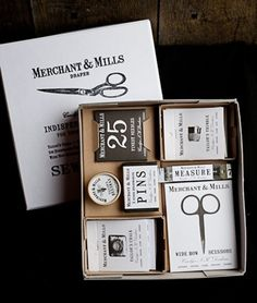 Nostalgic brand treatment for Merchant and Mills sewing company by Roderick Field.