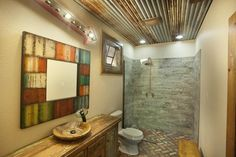 Awesome Modern Rustic Bathroom Decor Ideas - Bathroom design does not always have to be bright and shiny. You need to know that rustic or outdated design is loved in the present era. Small Rustic Bathrooms, Rustic Bathroom Shower, Rustic Bathroom Lighting, Rustic Bathroom Designs, Rustic Lighting, Contemporary Bathrooms, Modern Bathroom, Bathroom Ideas, Lighting Design