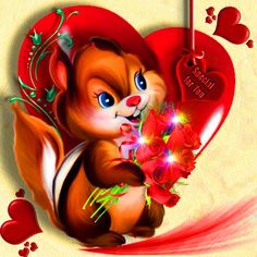 Valentines Day, Disney Characters, Fictional Characters, Disney Princess, Heart, Squirrels, Drawings, Valentine's Day Diy, Fantasy Characters