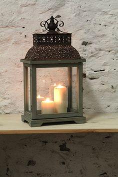 Dedra - Lucerna dřevo a kov se skleněn.výplněmi | Dedra