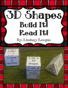 Shapes- Build It, Read It! Shapes have never been so much fun!Students cut, fold and tape/paste the shape nets to create shapes. On the sides of the shapes are examples of the shape, the number of sides, vertices and edges as well as other information. Second Grade Math, First Grade Classroom, Math Classroom, Kindergarten Math, Teaching Math, Grade 1, Teaching Ideas, Math Stations, Math Centers