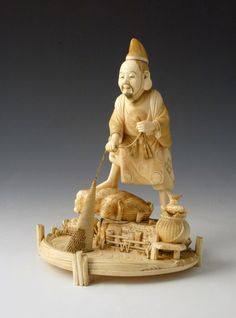 Japanese ivory okimono of Ebisu the God of Good Fortune (1868 to 1912 Japan)