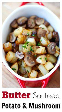 Butter Sauteed Potato and Mushroom – 15-min side dish of potato and mushroom sauteed with butter. Super easy, quick and yummy   rasamalaysia.com