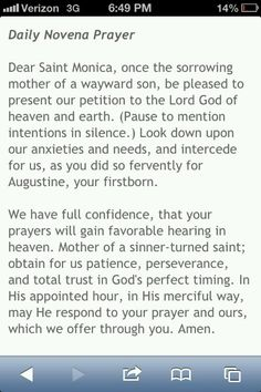 Saint Monica's prayer