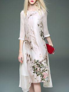 Shop Midi Dresses - 3/4 Sleeve Silk-blend Crew Neck Vintage Printed Midi Dress online. Discover unique designers fashion at StyleWe.com.