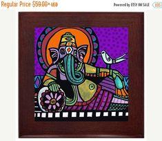 50% Off Today- Ganesh Spiritual Folk Art Ceramic Framed Tile by Heather Galler - Ready To Hang Tile Frame Gift