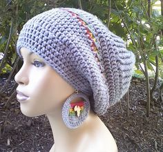 Grey slouch hat/Slouchy Beanie/Tam with Rasta stripes Red Gold Green free crochet earrings with Africa Pendant/Elastic Edge/Heather Grey