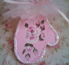 1 Hand Painted ornament HP Roses Victorian shabby cottage chic pink christmas